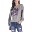 Womens Fashion Letter Printed Round Neck Long Sleeve Grey Pullover Sweatshirt