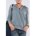 Womens Casual Simple Plain Long Sleeve V-Neck Loose Sport Cotton Hoodie