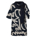 New Stylish Women Graffiti Print Half Sleeve Scoop Neck Straight Mini Dress