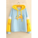 Girls Cartoon Sleeping Dog Print Colorblock Long Sleeve Casual Leisure Hoodie