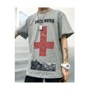 Guys Hip Hop Style Cross Letter PACE NURS Print Oversized T-Shirt