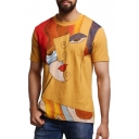 Unique Abstract Portrait Graffiti Round Neck Short Sleeve Yellow Tee