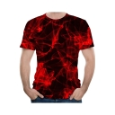Mens Creative Red Lighting Effect Print Short Sleeve Fitted T-Shirt