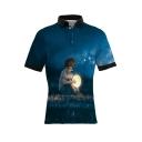 3D Cartoon Comic Boy Pattern Blue Short Sleeve Slim Fit Polo Shirt for Men