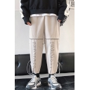 New Fashion Letter Printed Drawstring Cuffs Loose Fit Casual Tapered Track Pants for Guys
