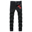 Men's Popular Fashion Rose Embroidery Pattern Black Slim Fit Ripped Jeans