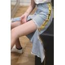 Summer Womens Hot Sale Asymmetric Hem Yellow Letter Ribbon Embellished Ripper High Waist Midi Skirt