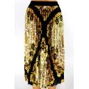 Summer Hot Fashion Elastic Waist Court Style Print Casual Pleated Midi Skirt