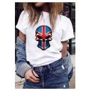 Womens Street Style Flag Skull Printed Hip Hop Short Sleeve T-Shirt
