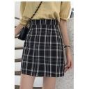 Womens Summer Hot Fashion High Waist Check Print Fitted Mini A-line Skirt