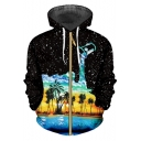 Cool Black Starry Dropped Oil Painting Coconut Pattern Zip Up Hoodie