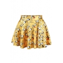 Womens Fancy High Elastic Waist Yellow Dog Print Flare Mini Skater Skirt