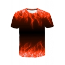 Hot Popular 3D Fire Pattern Round Neck Short Sleeve Casual Tee