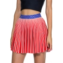 Womens Hot Fashion Red Striped Print Star High Waist Pleated Mini Skater Skirt