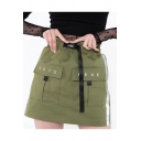 Womens Stylish Letter Print Striped Side Bucket High Waist Pocket Embellished Mini Cargo Skirt
