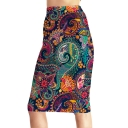 Womens Hot Trendy Tribal Print High Waist Slim Midi Pencil Skirt