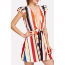 Summer Stylish Striped Print Plunge V Neck Ruffle Sleeves Tie Waist Casual Loose Holiday Rompers