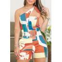 Hot Trendy Summer Geometric Print Halter Sleeveless Belt Waist Holiday Rompers