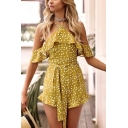 Womens Hot Sexy Polka Dot Printed Halter Neck Cold Shoulder Bow-Front Ruffle Trim Fitted Rompers