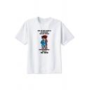 New Trendy Comic Character Pattern Round Neck Short Sleeve White T-Shirt