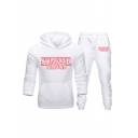 Popular Simple Letter Printed Casual Hoodie with Jogger Sweatpants Sport Two-Piece Set