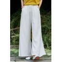 Womens Summer Stylish Plain Drawstring Waist Cotton Linen Casual Loose Wide Leg Pants