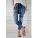 Womens Self Tie Multi Pocket Haren Denim Pants