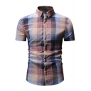 Mens Classic Check Pattern Short Sleeve Concealed Button Front Fitted Shirt