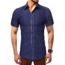 Mens Simple Stripe Patched Short Sleeve Slim Fit Button Up Shirt