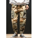 Men's Popular Fashion Camouflage Printed Drawstring Waist Casual Tapered Cargo Pants with Side Pockets