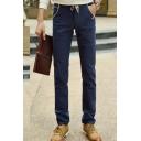 Men's Fashion Simple Plain Contrast Drawstring Waist Casual Cotton Dress Pants