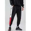 Guys Trendy Colorblock Patched Side Drawstring Waist Relaxed Fit Casual Cotton Sweatpants