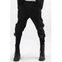Men's Trendy Solid Color Buckle Detail Black Tapered Pencil Pants