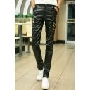 Men's New Stylish Solid Color Rivet Zipper Embellished Black PU Leather Biker Pants