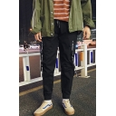 Men's New Fashion Letter Buckle Strap Embellished Drawstring Waist Hip Pop Casual Cargo Pants