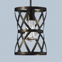 Black Cylinder Cage Pendant Light 1 Bulb Antique Stylish Metal Hanging Light for Restaurant