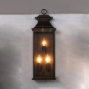 Industrial Bronze Wall Light Candle Shape 3 Lights Metal Wall Lamp with Rectangle Shade for Front Door