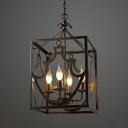 Colonial Style Candle Pendant Light with Rectangle Shade 4 Lights Metal Chandelier in Matte Black for Restaurant