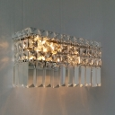 Contemporary Rectangle Shape Wall Light Clear Crystal Chrome Wall Sconce for Corridor Hotel