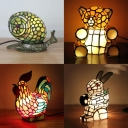 Tiffany Cute Multi-Color Table Light with Bear/Cock/Rabbit/Snail 1 Light Stained Glass Desk Light for Child Bedroom