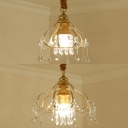Classic Gold Pendant Light Melon Cage 1/3 Lights Metal Chandelier with Crystal for Foyer Bedroom