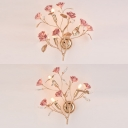Hotel Restaurant Blossom Wall Light with Crystal Metal 3 Lights Modern Style Wall Lamp in Green/Pink/White