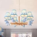 Nordic Style Blue/Pink Chandelier Horse 3/5/8 Lights Wood Pendant Light for Nursing Room