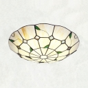 Rustic Style Umbrella Ceiling Mount Light with Bead/Leaf Art Glass Flush Light in Beige for Restaurant