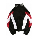 Hip Hop Style Cool Simple Letter Print Stand Collar Colorblock Long Sleeve Zip Up Sport Track Jacket