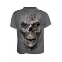 Summer Cool Skull 3D Print Grey Short Sleeve Casual Tee