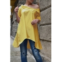 Stylish Oblique Shoulder Simple Solid Color Longline Linen Asymmetrical Blouse Top