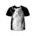 Cute Cat 3D Printed Round Neck Short Sleeve Black T-Shirt