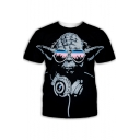 Funny Star Wars Yoda 3D Printed Round Neck Short Sleeve Black Tee