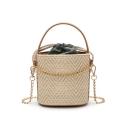 Summer Fashion Plain Straw Bucket Bag with Chain Strap 15*10*15 CM